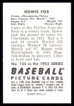 1952 Bowman REPRINT #125  Howard Fox  Back Thumbnail