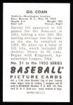 1952 Bowman REPRINT #51  Gil Coan  Back Thumbnail