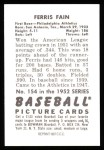 1952 Bowman REPRINT #154  Ferris Fain  Back Thumbnail