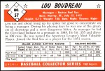 1953 Bowman REPRINT #57  Lou Boudreau  Back Thumbnail