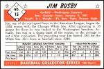 1953 Bowman REPRINT #15  Jim Busby  Back Thumbnail