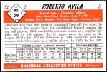 1953 Bowman REPRINT #29  Bobby Avila  Back Thumbnail
