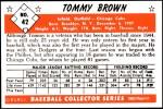1953 Bowman REPRINT #42  Tom Brown  Back Thumbnail