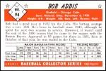 1953 Bowman REPRINT #94  Bob Addis  Back Thumbnail