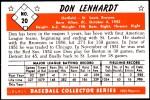 1953 Bowman REPRINT #20  Don Lenhardt  Back Thumbnail