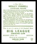 1933 Goudey Reprint #218  Wes Ferrell  Back Thumbnail