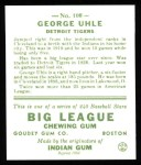1933 Goudey Reprint #100  George Uhle  Back Thumbnail
