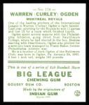1933 Goudey Reprint #174  Warren Ogden  Back Thumbnail
