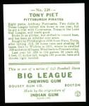 1933 Goudey Reprint #228  Tony Piet  Back Thumbnail