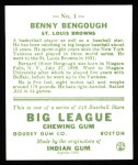 1933 Goudey Reprint #1  Benny Bengough  Back Thumbnail