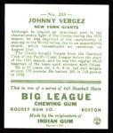 1933 Goudey Reprint #233  Johnny Vergez  Back Thumbnail