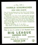 1933 Goudey Reprint #129  Hal Schumacher  Back Thumbnail