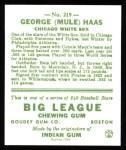 1933 Goudey Reprint #219  Mule Haas  Back Thumbnail