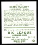 1933 Goudey Reprint #170  Harry McCurdy  Back Thumbnail