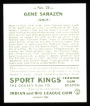 1933 Sport Kings Reprint #22  Gene Sarazen   Back Thumbnail