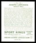 1933 Sport Kings Reprint #32  Joe Lapchick   Back Thumbnail