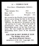 1948 Bowman REPRINT #21  Ferris Fain  Back Thumbnail