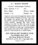 1948 Bowman REPRINT #10  Buddy Rosar  Back Thumbnail
