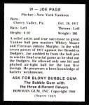 1948 Bowman REPRINT #29  Joe Page  Back Thumbnail