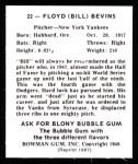 1948 Bowman REPRINT #22  Floyd Bevens  Back Thumbnail