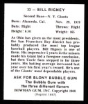 1948 Bowman REPRINT #32  Bill Rigney  Back Thumbnail