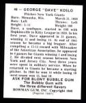 1948 Bowman REPRINT #48  Dave Koslo  Back Thumbnail