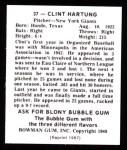 1948 Bowman REPRINT #37  Clint Hartung  Back Thumbnail