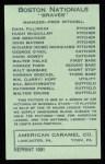 1922 E120 American Caramel Reprint #134  Billy Southworth  Back Thumbnail