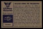1954 Bowman U.S. Navy Victories #28   Decatur Burns the Philadelphia Back Thumbnail