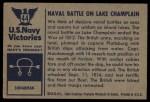 1954 Bowman U.S. Navy Victories #44   Naval Battle on Lake Champlain Back Thumbnail