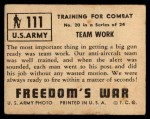 1950 Topps Freedoms War #111   Team Work  Back Thumbnail