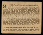 1938 Gum Inc. Horrors of War #54   U.S.S. Panay Sinks as Crew Abandons Ship Back Thumbnail
