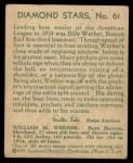 1935 Diamond Stars #61  Bill Werber   Back Thumbnail