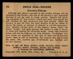 1941 Gum Inc Uncle Sam #54   Cavalry Charge Back Thumbnail