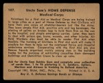 1941 Gum Inc Uncle Sam #107   Medical Corps Back Thumbnail