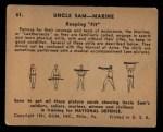 1941 Gum Inc Uncle Sam #61   Keeping Fit Back Thumbnail