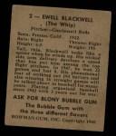 1948 Bowman #2  Ewell Blackwell  Back Thumbnail