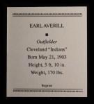 1933 Tattoo Orbit Reprint #3  Earl Averill  Back Thumbnail