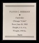 1933 Tattoo Orbit Reprint #32  Babe Herman  Back Thumbnail