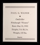 1933 Tattoo Orbit Reprint #58  Paul Waner  Back Thumbnail