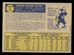 1970 O-Pee-Chee #31  Marty Pattin  Back Thumbnail