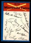 1973 O-Pee-Chee Blue Team Checklist #14   Twins Team Checklist Front Thumbnail