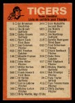 1973 O-Pee-Chee Blue Team Checklist #9   Tigers Team Checklist Back Thumbnail