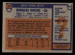 1976 Topps #378  Burgess Owens  Back Thumbnail