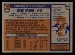 1976 Topps #152  Dave Green  Back Thumbnail