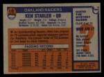 1976 Topps #415  Ken Stabler  Back Thumbnail