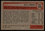 1954 Bowman #173  Dee Fondy  Back Thumbnail