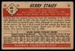 1953 Bowman #17  Gerry Staley  Back Thumbnail