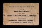 1922 E121-120 American Caramel BAT Bill Killefer  Back Thumbnail
