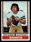1974 Topps #70  Archie Manning  Front Thumbnail